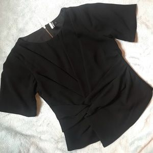 Topshop black twisted front blouse size 2